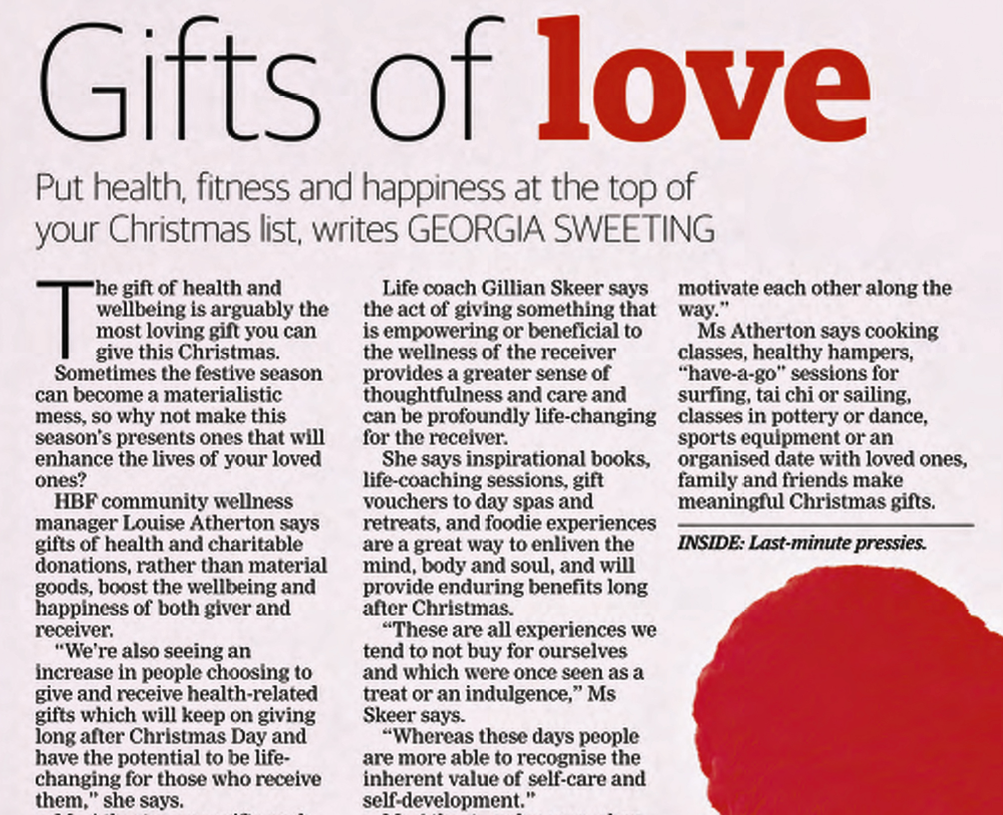 Gifts of Love The Western Australian Newspaper 23 Dec 2014 compressed cropped edited 1 Media